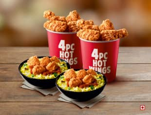 2 Popcorn Rice Bowls with 8 Hot Wings
