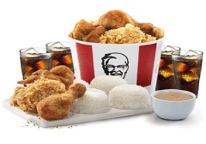 8-PC BUCKET MEAL WITH RICE AND DRINKS
