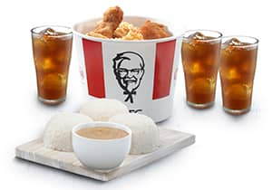 6-PC BUCKET MEAL WITH RICE AND DRINKS