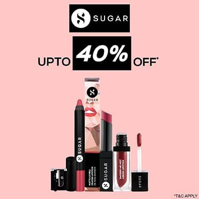 Sugar- Stock Your Hot Favourites From Sugar Cosmetics Collection At An Amazing Offer Of 'upto 40% Off'