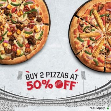 Buy 2 Pizzas At 50% Off